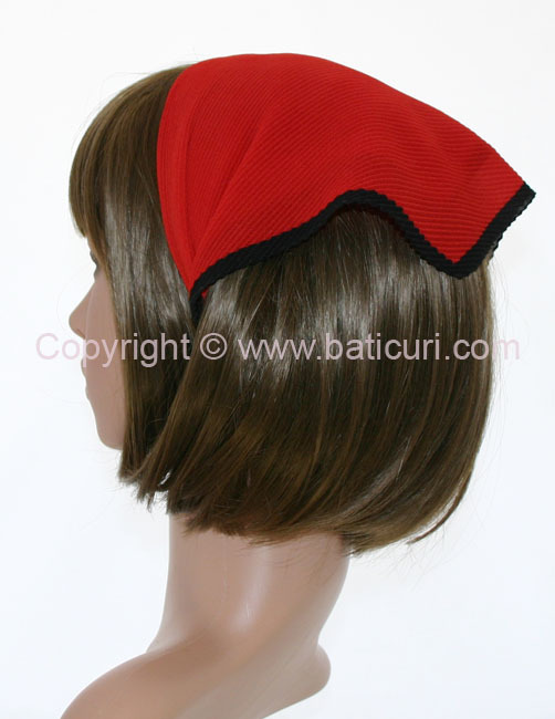 101-11 Italian pleated solid with Black border-Red